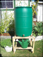 Rain barrel On Wooden Stand