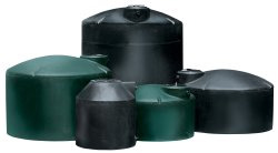Black and Green Water Storage Tanks